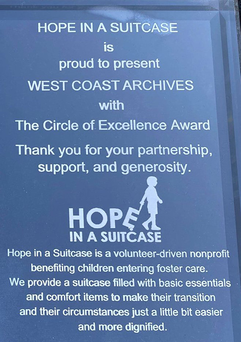 how west coast archives helps hope in a suitcase